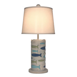 Coastal Lighting Cottage with Bright Stripe Accent One-Light Table Lamp