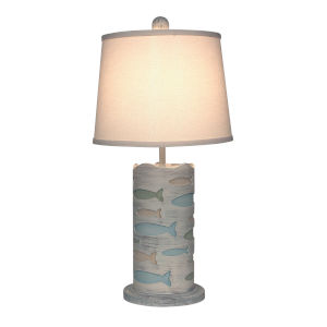 Coastal Lighting Cottage with Multicolor Accent One-Light Table Lamp