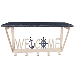 Coastal Living Weathered Navy Coat Rack with Wheel