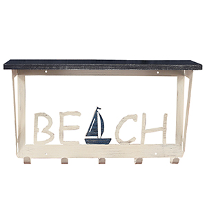 Coastal Living Weathered Navy Coat Rack with Sailboat Accent