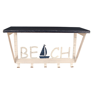 Coastal Living Weathered Navy 26-Inch Coat Rack with Sailboat Accent