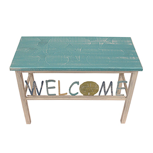 Coastal Living Turquoise Sea Welcome Bench with Dollar Accent