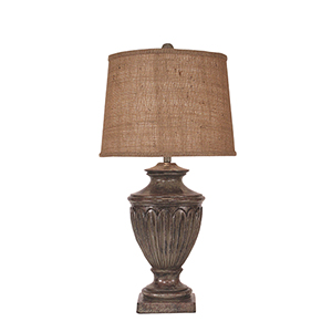 Casual Living Tarnished Pale Gray One-Light Urn Table Lamp