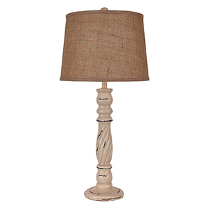 Heavy Distressed Cottage One-Light Table Lamp