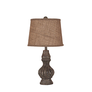 Casual Living Tarnished Pale Gray One-Light Ribbed Genie Table Lamp