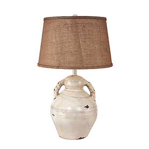 Casual Living Heavy Distressed Light Nude One-Light Swirl Handled Pottery Table Lamp