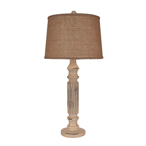 Distressed Cottage One-Light Ribbed Table Lamp