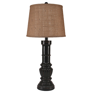 Casual Living Distressed Black One-Light Pedestal Lamp