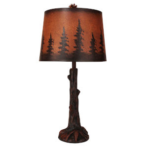 Rustic Living Rust Tree Trunk with Root One-Light Table Lamp