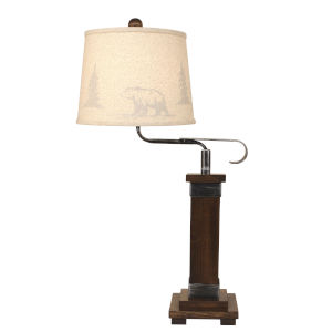 Rustic Living Dark Stain Steel One-Light Table Lamp with Bear and Tree Shade
