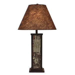 Rustic Living Aspen Poplar Bark Wood Accent One-Light Table Lamp with Woodchip Shade