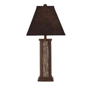 Rustic Living Aspen Poplar Bark Wooden Dowel One-Light Table Lamp