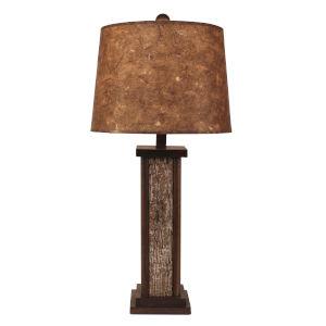 Rustic Living Aspen Poplar Bark Wooden Dowel One-Light Table Lamp with Woodchip Shade