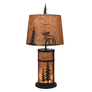 Rustic Living Kodiak Woodchip Stain Feather Tree Two-Light Table Lamp
