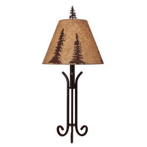 Rustic Living Rust Iron Pine Tree One-Light Table Lamp
