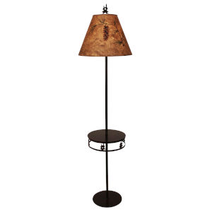 Rustic Living Burnt Sienna Rust One-Light Double Tree Band Drink Table Tray Lamp