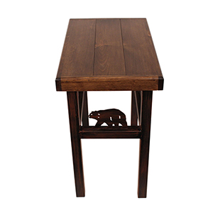 Rustic Living Dark Stain Rectangular End Table with Bear
