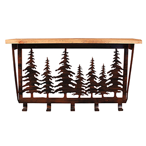Rustic Living Brown and Black Iron Pine Tree Coat Rack