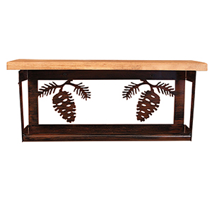 Rustic Living Brown and Black Iron Pine Cone Towel Bar