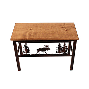 Rustic Living Brown and Black Moose Scene Bench