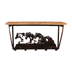 Rustic Living Brown and Black Iron Horses Coat Rack