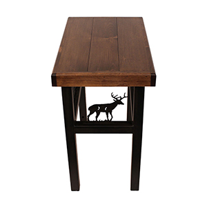 Rustic Living Dark Stain Rectangular End Table with Deer