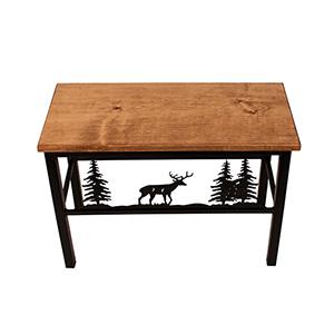 Rustic Living Brown and Black Deer Scene Bench