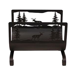 Rustic Living Kodiak Deer Scene Wood Holder