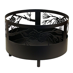 Rustic Living Black Pine Cone Branch Scene Fire Pit with Base and Feet