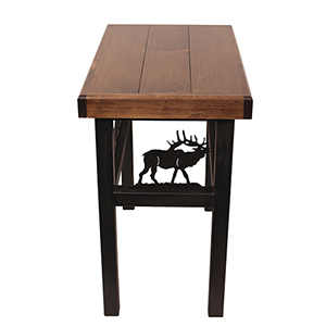 Rustic Living Dark Stain Rectangular End Table with Elk