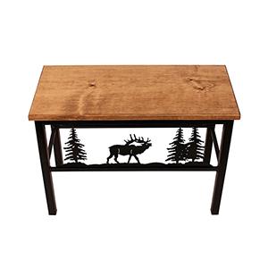 Rustic Living Brown and Black Elk Scene Bench
