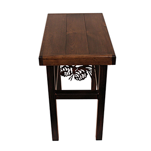 Rustic Living Dark Stain Rectangle End Table with Pine Cone