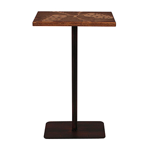 Rustic Living Brown and Black Drink Table with Pine Cone
