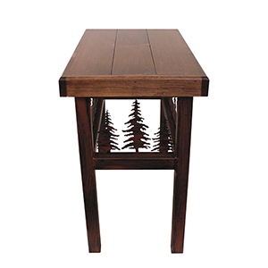 Rustic Living Dark Stain Rectangle End Table with Feather Tree
