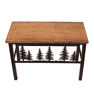 Rustic Living Brown and Black Feather Tree Scene Bench
