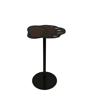 Rustic Living Burnt Umber and Golden Brown Bear Paw Drink Table
