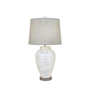 Farmhouse and Grey   One-Light 15-Inch Round Table Lamp