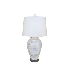 Farmhouse and Grey  One-Light  15-Inch Table Lamp with Round Base