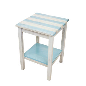 Turquoise Sea Stripe 17-Inch End Table