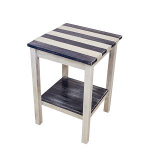 Weathered Navy Stripe  17-Inch End Table