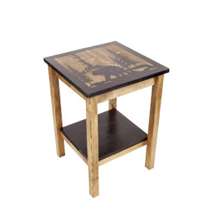 Stain and Black  17-Inch End Table Etched Bear Scene Top and Bottom Shelf