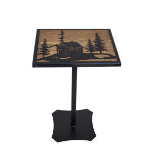 Black and Stain  14-Inch Accent Table with Etched Cabin Scene Top
