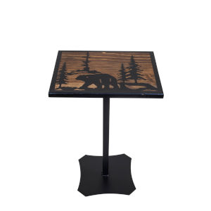 Black and Stain  14-Inch Accent Table with Etched Bear Scene Top