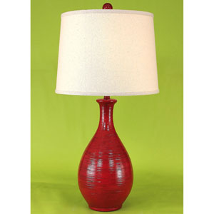 Casual Living High Gloss Brick Red Glaze One-Light Table Lamp