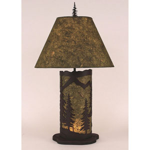 Rustic Living Dark Brown and Forest Green One-Light Table Lamp with Night Light