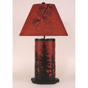 Rustic Living Kodiak and Rustic Red One-Light Table Lamp with Night Light
