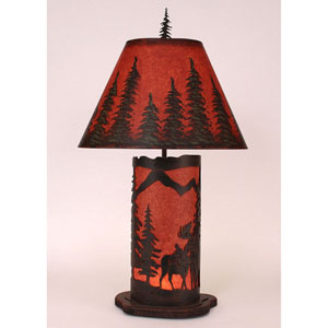 Rustic Living Burnt Sienna and Rustic Red One-Light Table Lamp with Night Light