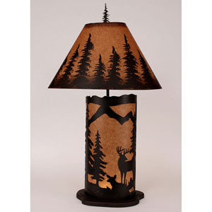 Rustic Living Kodiak and Rustic Brown One-Light Table Lamp with Night Light