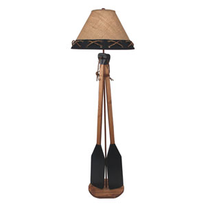 Coastal Living Natural Stain and Navy One-Light Floor Lamp
