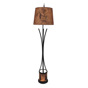 Rustic Living Kodiak and Woodchip Stain One-Light Floor Lamp with Night Light